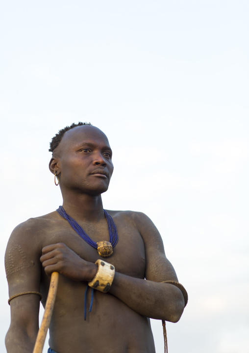 Portrait Of A Bodi Tribe Man, Hana Mursi, Omo Valley, Ethiopia