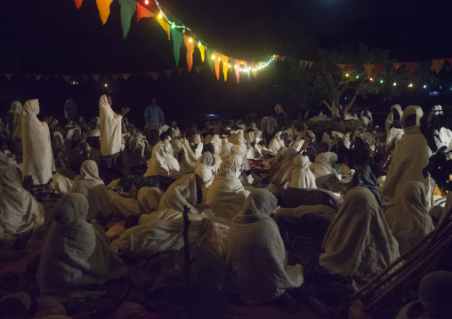 Orthodox Pilgrims At Timkat Festival During Nightime, Lalibela, Ethiopia