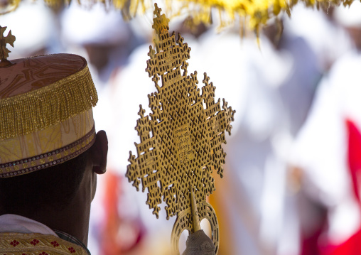 Ethiopian Orthodox Priest Holding A Cross During The Colorful Timkat Epiphany Festival, Lalibela, Ethiopia