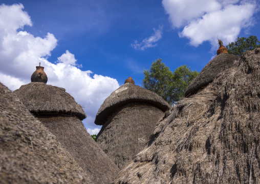 Konso Tribe Traditional Houses With Pots On The Top, Konso, Omo Valley, Ethiopia
