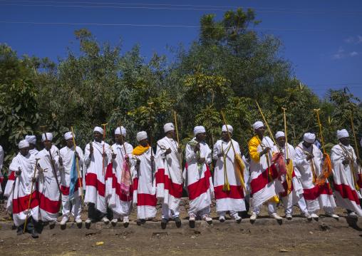 Ethiopian Orthodox Priests Celebrating The Colorful Timkat Epiphany Festival, Lalibela, Ethiopia