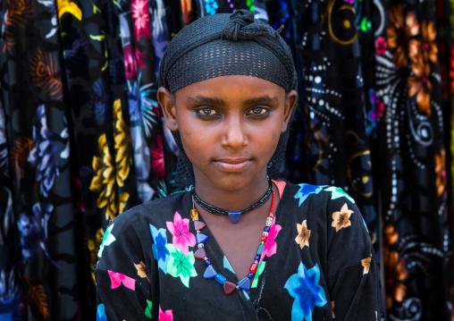 Portrait of an oromo girl with a hair net on the head, Oromo, Sambate, Ethiopia