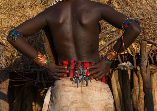 Keys on a beaded belt of a hamer tribe girl, Omo valley, Turmi, Ethiopia