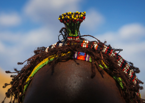 Nyangatom tribe teenage girl with an headgear that indicates she is single, Omo valley, Kangate, Ethiopia