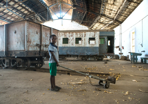 Boy playing in the old train station, Dire dawa region, Dire dawa, Ethiopia