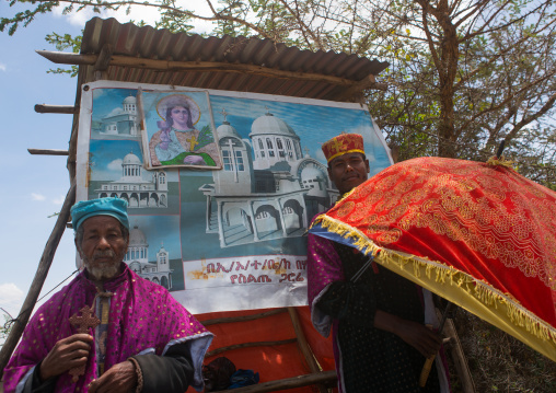 Priests collecting money a to build a new church, Addis abeba region, Addis ababa, Ethiopia