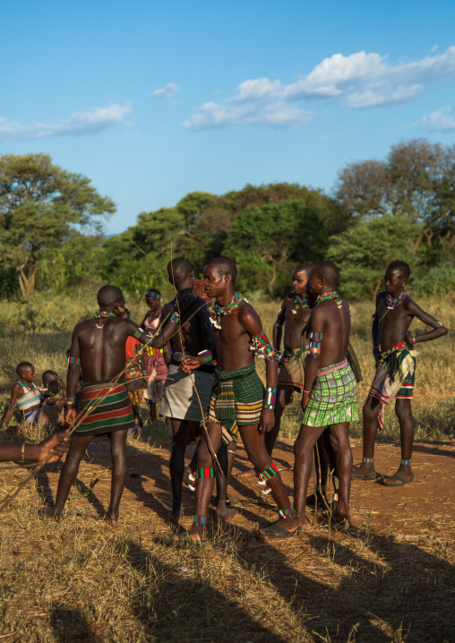 Hamer tribe whippers during a bull jumping ceremony, Omo valley, Turmi, Ethiopia