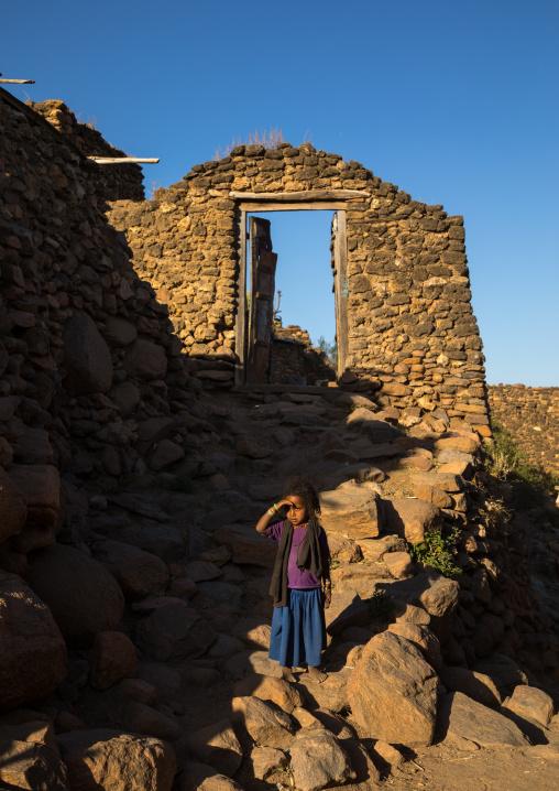 Ethiopian girl in a traditional Argoba stone houses village, Harari Region, Koremi, Ethiopia