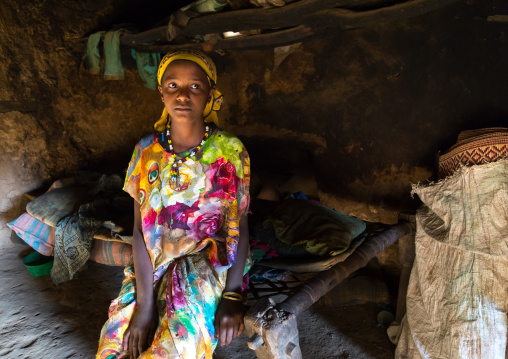 Girl inside her house in a traditional Argoba stone houses village, Harari Region, Koremi, Ethiopia