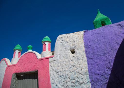 Multi colored mosque in the old area of Jugol, Harari Region, Harar, Ethiopia