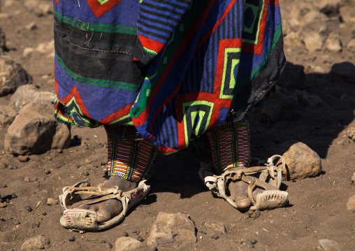 Issa tribe woman with goat skin shoes, Afar region, Yangudi Rassa National Park, Ethiopia