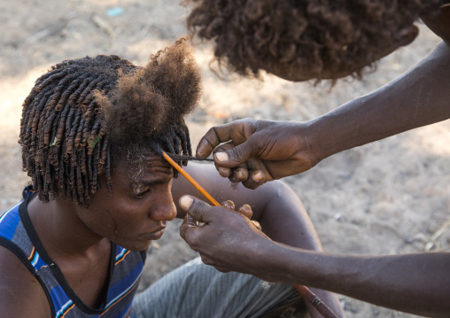 Afar man having a traditional hairstyle with a stick to make curly hair, Afar region, Afambo, Ethiopia