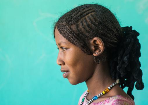 Side view of an Afar tribe girl with braided hair, Afar region, Semera, Ethiopia