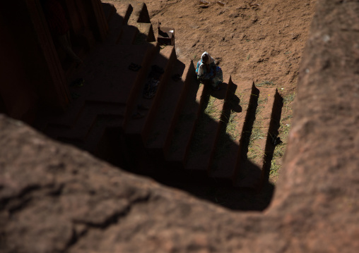 Stairs of the monolithic rock-cut church of st. George seen from above, Amhara region, Lalibela, Ethiopia