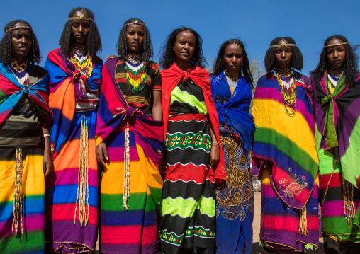Borana tribe virgin girls during the Gada system ceremony, Oromia, Yabelo, Ethiopia