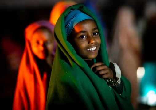 Portrait of a smiling oromo girl, Oromia, Sheik Hussein, Ethiopia