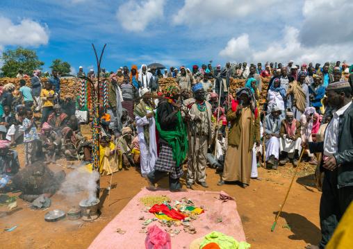 Oromo pilgrims in the shrine of sufi Sheikh Hussein , Oromia, Sheik Hussein, Ethiopia