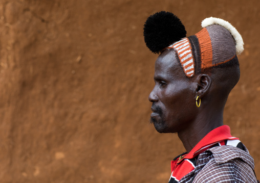Side view of a Hamer tribe man with clay bun on the head and ostrich black feathers, Omo valley, Dimeka, Ethiopia