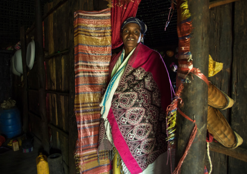 Gurage woman inside her traditional house, Gurage Zone, Butajira, Ethiopia