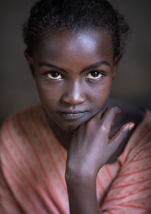 Portrait of an afar tribe girl, Afar Region, Afambo, Ethiopia