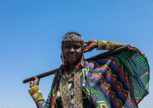Portrait of an issa tribe woman with a beaded necklace, Afar Region, Gewane, Ethiopia
