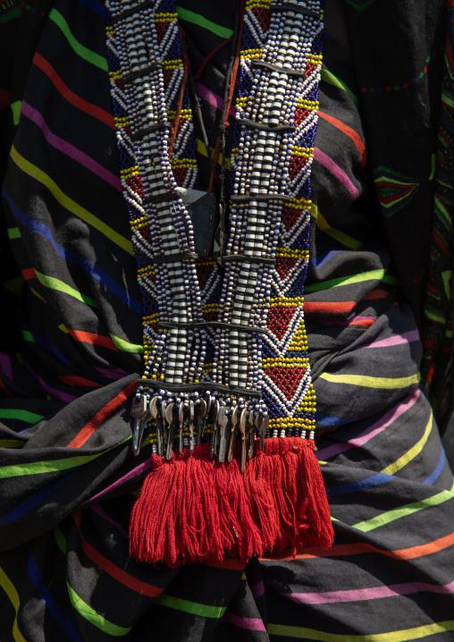 Issa tribe woman with a beaded necklace, Afar Region, Gewane, Ethiopia