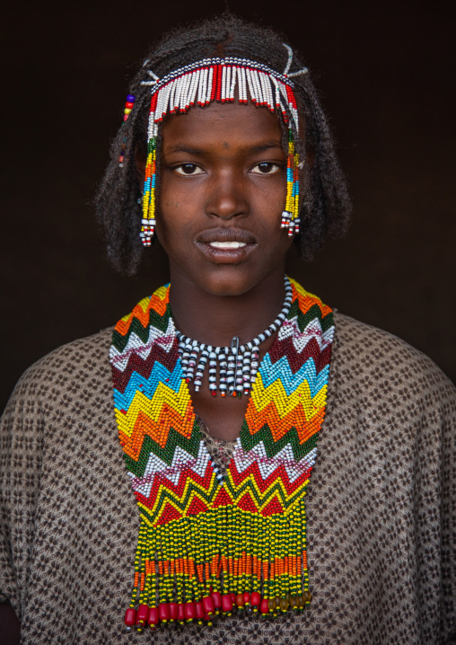 Oromo woman with a beaded necklace, Oromia, Mileso, Ethiopia