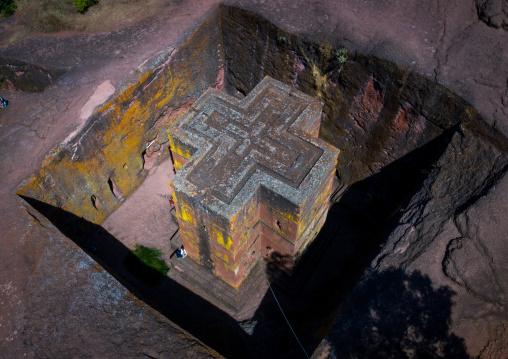 Aerial view of the monolithic rock-cut church of bete giyorgis, Amhara Region, Lalibela, Ethiopia
