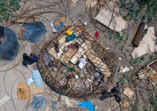 Aerial view of afar people building a hut, Afar Region, Afambo, Ethiopia