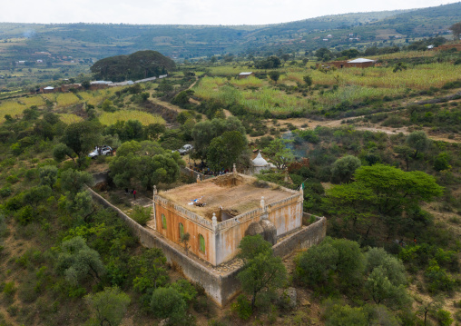 Aerial view of a mosque in the countryside, Harari Region, Harar, Ethiopia