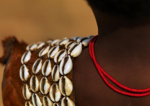 Shell and skin clothing detail of tsemay garment Ethiopia