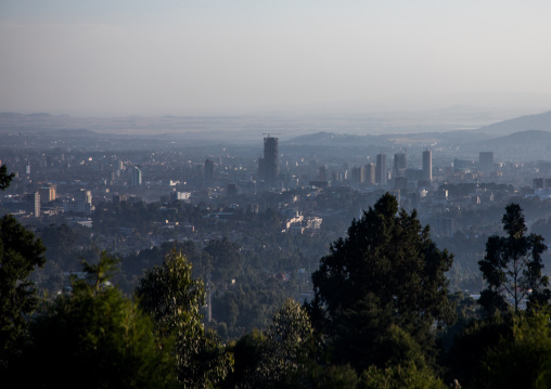 A panoramic view of the town from Entoto mountain, Addis Ababa Region, Addis Ababa, Ethiopia
