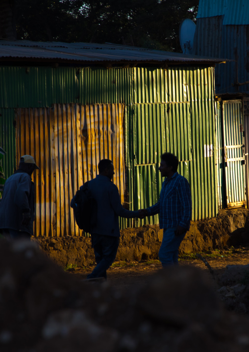 Silhouettes of two men shaking hands in the street, Addis Ababa Region, Addis Ababa, Ethiopia