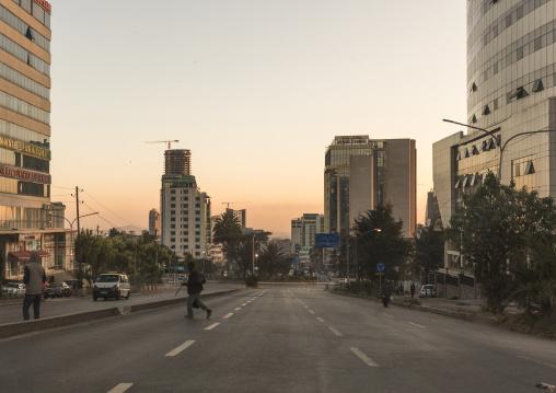 Empty large road in the city center, Addis Ababa Region, Addis Ababa, Ethiopia