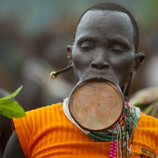 Suri tribe woman with a lip plate, Kibish, Omo valley, Ethiopia
