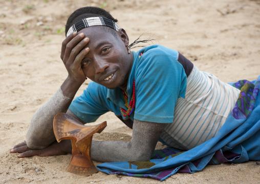 Hamar Tribe Man And Traditonnal Headrest, Turmi, Omo Valley, Ethiopia