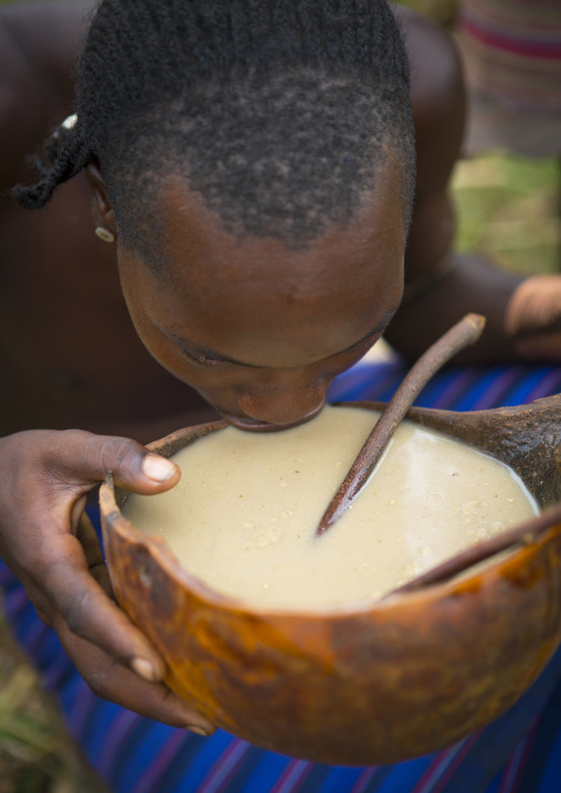 Hamar Tribe Man Drinking Sorghum Beer, Turmi, Omo Valley, Ethiopia