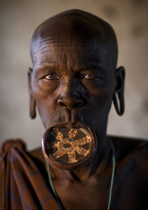 Portrait Of A  Mursi Tribe Woman With Enlarged Lip In Mago National Park, Omo Valley, Ethiopia