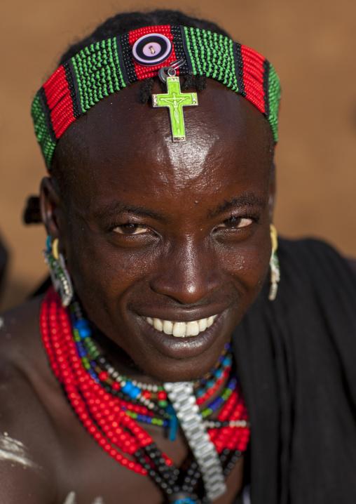Bashada Tribe With A  Christian Cross On The Head, Dimeka, Omo Valley, Ethiopia