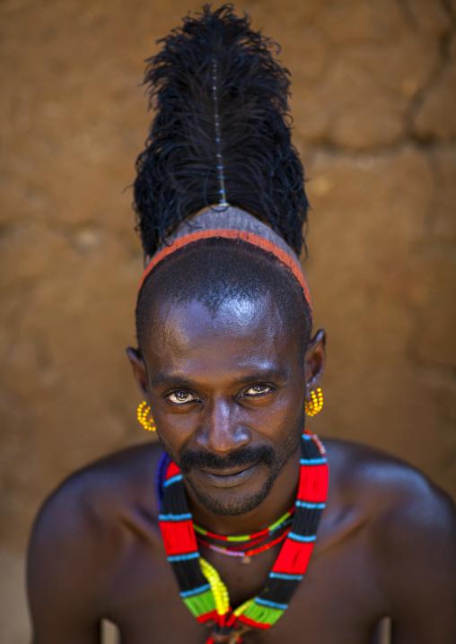 Hamer Tribe Man With Ostrich Feather, Turmi, Omo Valley, Ethiopia