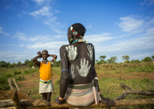 Bashada Tribe Man With Body Painting, Dimeka, Omo Valley, Ethiopia