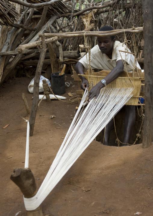 Portrait Of A Konso Tribe Weaver Working, Konso, Omo Valley, Ethiopia