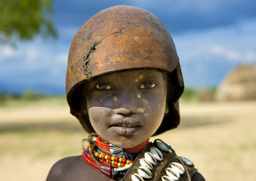 Portrait Of A Cute Erbore Child With A Calabash On His Head, Weito, Omo Valley, Ethiopia