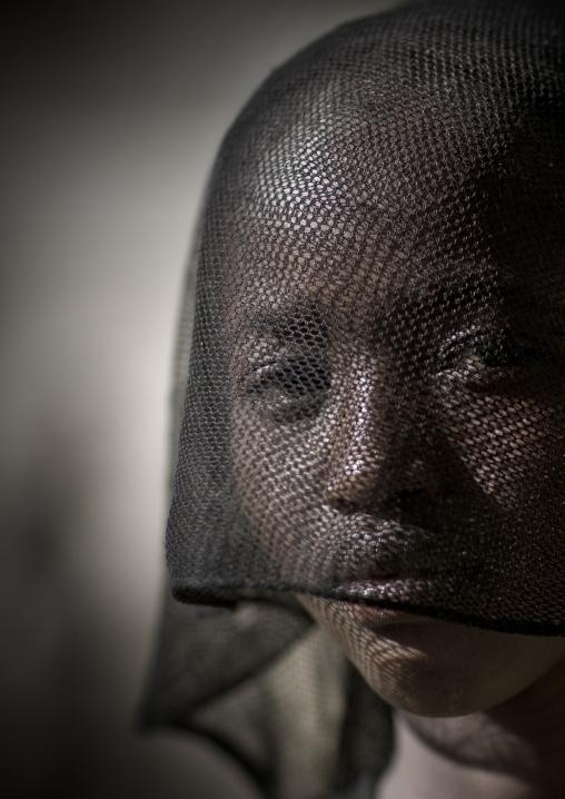 Portrait Of A Veiled Konso Tribe Girl, Konso, Omo Valley, Ethiopia