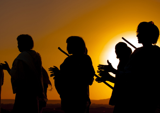 Afar tribe men at sunset, Assaita, Afar regional state, Ethiopia