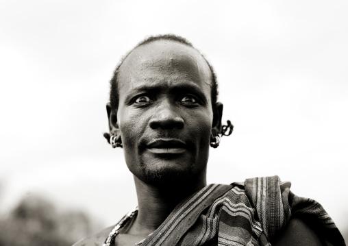 Frightened Look Of Bashada Man Portrait Omo Valley Ethiopia