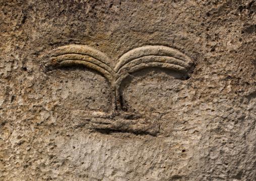 Carved headrest on a rock in tiya, Unesco world heritage site, Tiya, Ethiopia