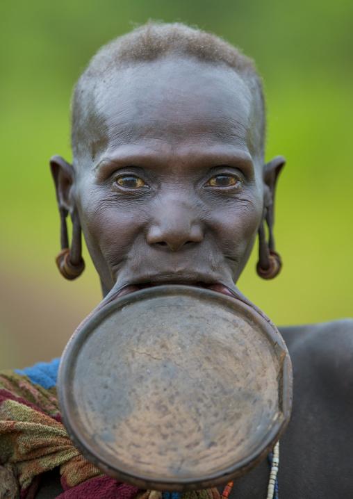 Prtrait of a Suri tribe woman with a lip plate, Kibish, Omo valley, Ethiopia
