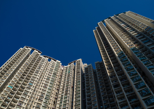 Residential buildings against blue sky, Special Administrative Region of the People's Republic of China, Hong Kong, China