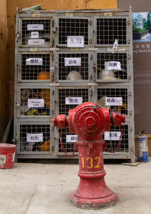 Fire hydrant and helmets, Special Administrative Region of the People's Republic of China, Hong Kong, China